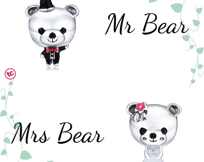 Mr & Mrs Teddy Bear Bride Groom Wedding Charm, Authentic Sterling Silver, Fits Pandora, European bracelets,Necklace, DIY Jewellery, Jewelry