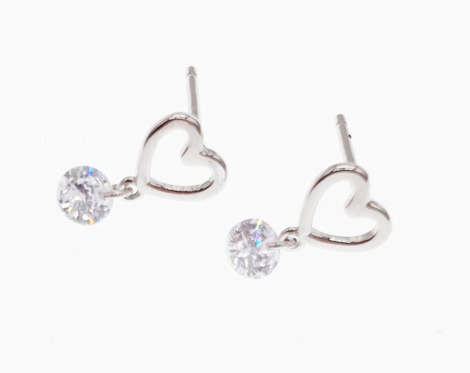 Love Heart Stud Sterling Silver Earrings with Cubic Zirconia, A Drop Ball Simple Minimalist Design , Engagement Mothers Day Gifts