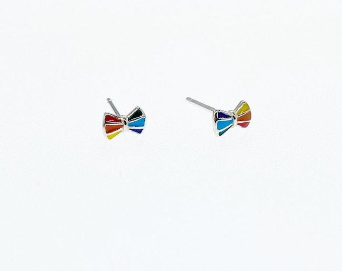 Rainbow Pride Bow Tie Stud Earrings, Authentic Sterling Silver, Minimalist Stud, Minimilist Jewellery, Totally Charming, LGBTQ+