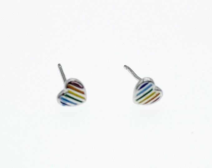 Rainbow Pride Love Heart Stud Earrings, Authentic Sterling Silver, Minimalist Stud, Minimilist Jewellery, Totally Charming, LGBTQ+