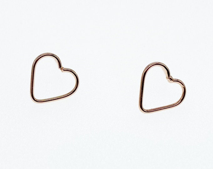 Rose Gold Love Heart Stud Earrings - Authentic Sterling Silver - Mothers Day Gifts