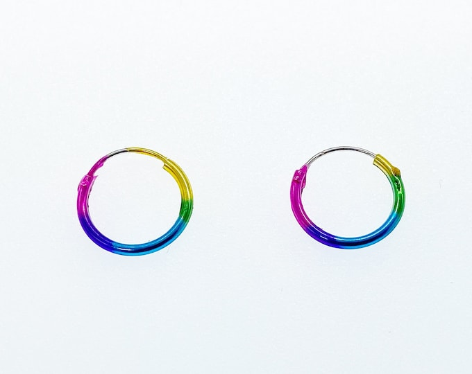 Drop Loop Dangle Rainbow Pride Love Earrings, Authentic Sterling Silver, Minimalist Stud, Minimilist Jewellery, Totally Charming, LGBTQ+