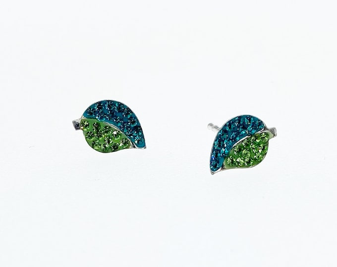 Green & Blue Leaves with Austrian Crystals Stud Earrings, Authentic Sterling Silver, Minimalist Stud, Minimilist Jewellery, Totally Charming