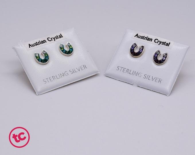 Lucky Horseshoe Green Purple Stud Earrings, Authentic Sterling Silver, Austrian Crystal Minimalist Stud, Minimilist Jewellery, Jewelry