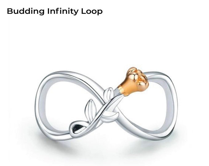 Budding Flower Infinity Loop Charm, Authentic Sterling Silver, Fits Pandora, European bracelets, Necklace, DIY Jewellery, Jewelry