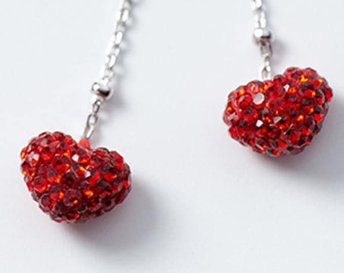 Bursting Red Heart Sterling Silver Drop Earrings with Micro-Inlay Zirconia Ideal Gift for Mothers Day