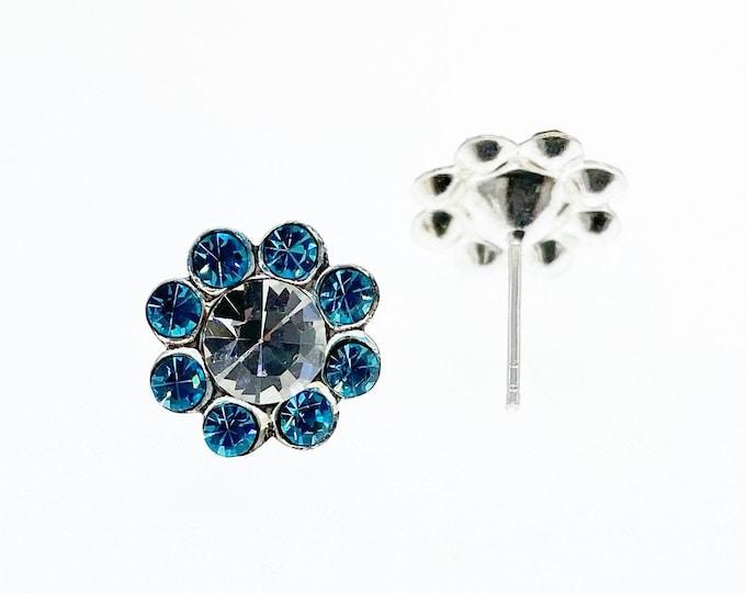 Blue Flower Floral Stud Earrings, Austrian Crystal & Authentic Sterling Silver Jewellery Jewelry
