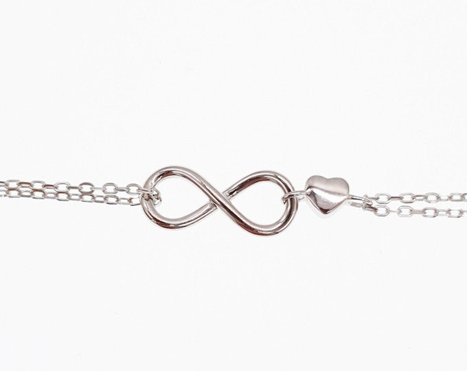 Infinity Strand Sterling Silver Bracelet with Love Heart Minimalist Dainty Endless Love Mothers Day Jewellery Jewelry