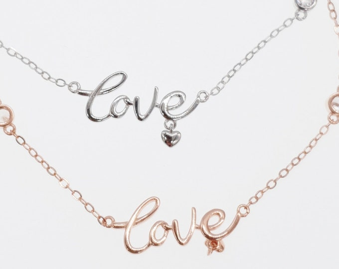 Scripted Love Heart Bracelet, Sterling Silver, Rose Gold, Silver, A Minimalist Link Bracelet, Jewelry Jewellery