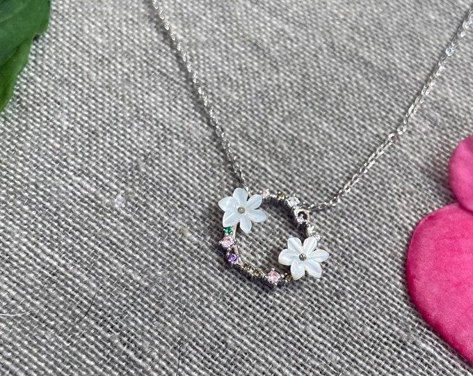 Floral Flower Sterling Silver Necklace