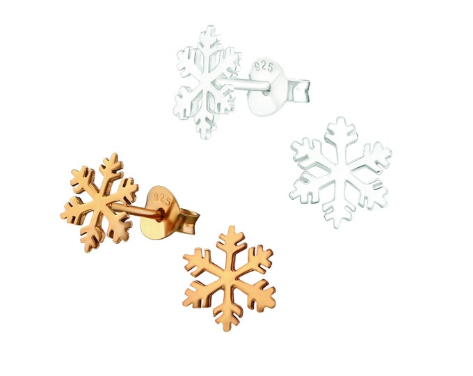 Snowflake Christmas Stud Earrings Rose Gold or Silver | Sterling Silver Christmas Party Earrings Festive Collection