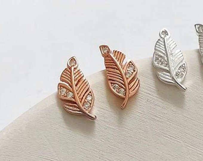 Rose Gold Elegant Feather Earrings | Nature Inspired Sterling Silver Jewellery Jewelry Gifts
