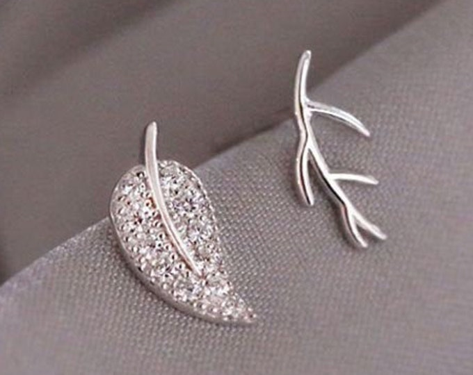 Mismatch Silver Leaf & Branch Stud Earrings | Nature Inspired Sterling Silver Stud Odd Earrings