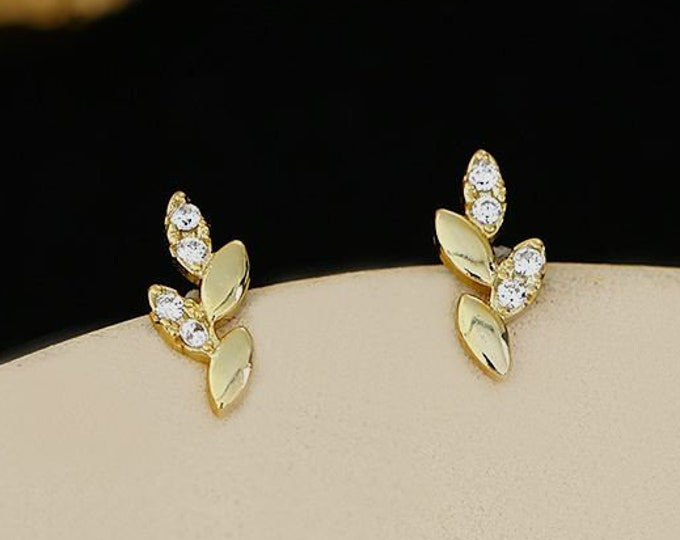 Mini Gold Leaf Stud Earrings with Cubic Zirconia | Sterling Silver Nature Inspired Earrings | Perfect for Gifts