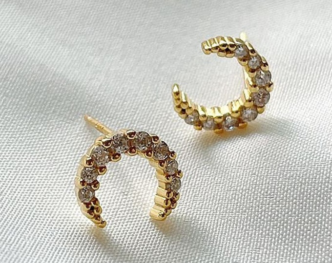 Crescent Moon Sterling Silver Gold Plated Stud Earrings with Cubic Zirconia, Celestial Moon Earrings, Totally Charming