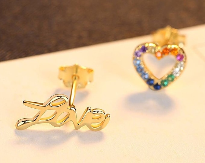 Mismatch Love and Love Heart Stud Pride Earrings | Rainbow CZ Studs, Sterling Silver Asymmetrical Earrings
