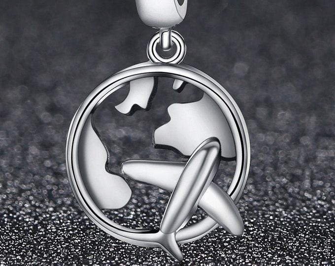 Plane Charm for European Bracelets - Sterling Silver | Fits Pandora, European Bracelets, Necklace, DIY Jewellery, Jewelry