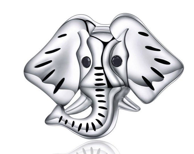 Elephant Charm Bead - Authentic Sterling Silver Charm - Fits Pandora & Other Charm Bracelets
