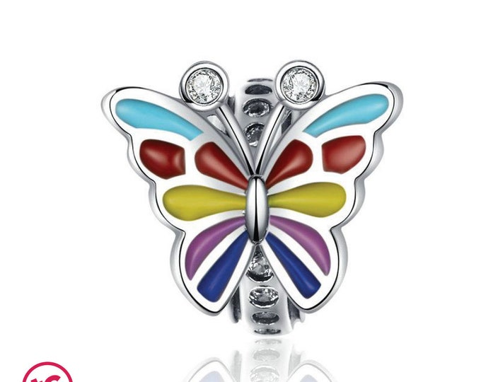 Colourful Rainbow Butterfly Pride Charm Bead, Authentic Sterling Silver, Fits Pandora, European bracelets,Necklace, DIY Jewellery, Jewelry