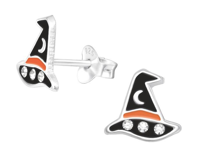 Halloween Earrings - Witches Hat | Sterling Silver Halloween Stud Earring - Horror, Scary Party Earrings