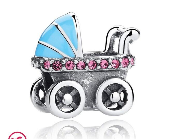 New Born Infant & Baby Pushchair Pram Stroller Charm, Authentic Sterling Silver, Fits Pandora, European bracelets, DIY Jewellery, Jewelry