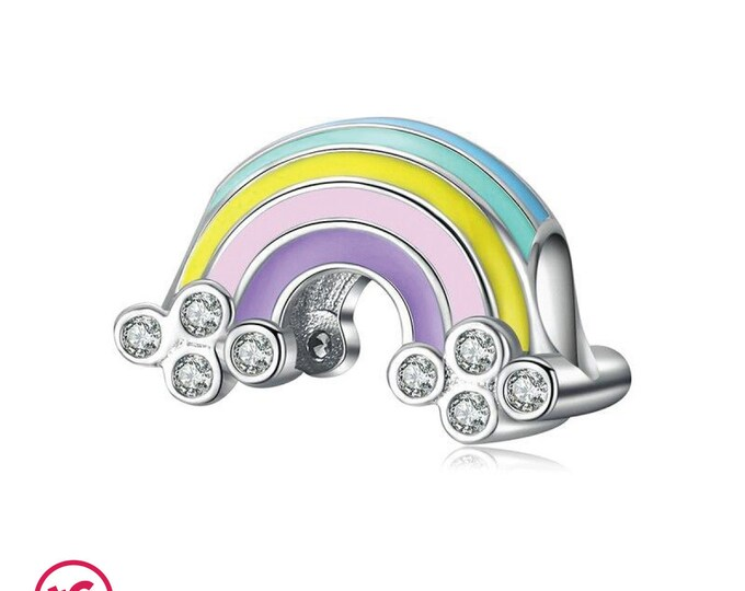 Colourful Lucky Rainbow with Cubic Zirconia Charm, Authentic Sterling Silver, Fits Pandora, European bracelets, DIY Jewellery, Jewelry
