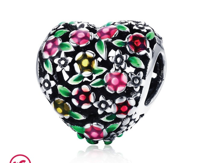 Floral Love Heart Bead Charm , Authentic Sterling Silver, Fits Pandora, European bracelets, Necklace,DIY Jewellery, Jewelry