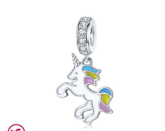 Colourful Unicorn Fantasy Fairytale Charm, Authentic Sterling Silver, Fits Pandora, European bracelets, Necklaces, DIY Jewellery, Jewelry