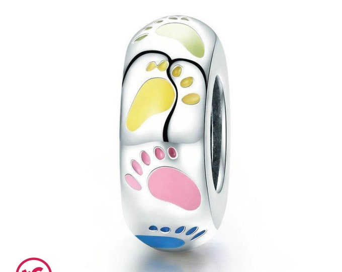 New Born Infant & Baby Colourful Feet Footprints Charm, Authentic Sterling Silver, Fits Pandora, European bracelets, DIY Jewellery, Jewelry