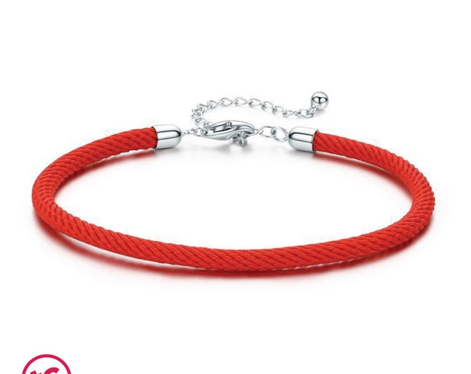 Red Woven Adjustable Unisex Charm Bracelet - Totally Charming, Authentic Sterling Silver, European bracelet,Necklace, DIY Jewellery, Jewelry