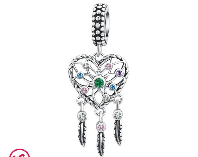 Heart Shaped Dreamcatcher with Cubic Zirconia Charm, Authentic Sterling Silver, Fits Pandora, European bracelets, DIY Jewellery, Jewelry