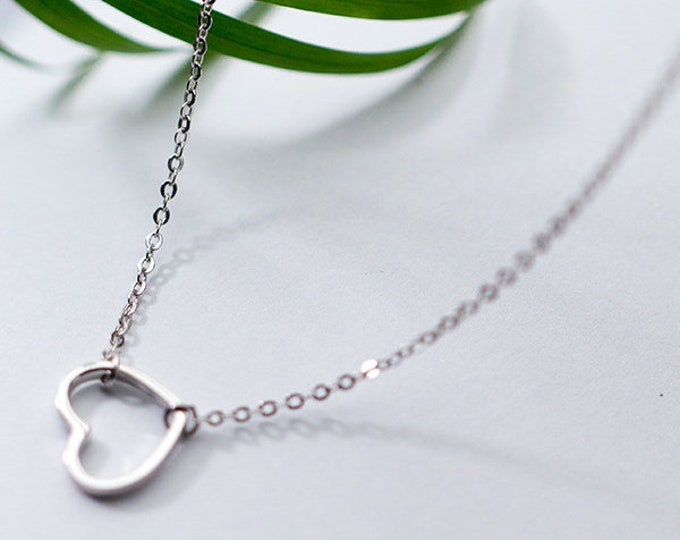 Love Heart Symbol Sterling Silver Necklace Gold or Silver Sweet and Simple Design Mothers Day