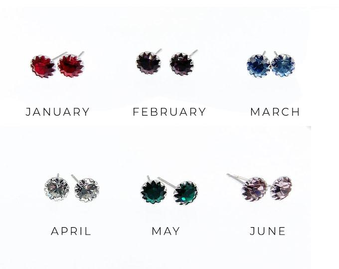 Birthstone Earrings - Sterling Silver Stud Earrings - Garnet, Amethyst, Aquamarine, Diamond, Emerald, Alexandrite, Ruby, Peridot, Sapphire