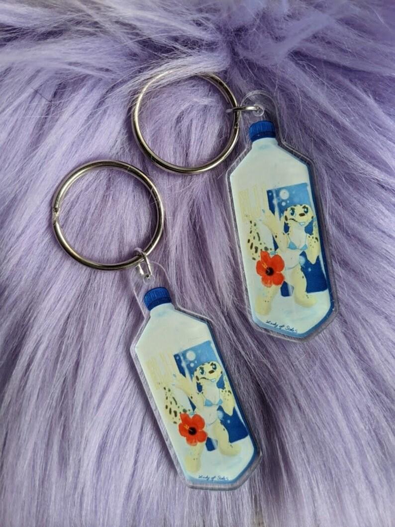 Lizzy in water bottle acrylic keychain