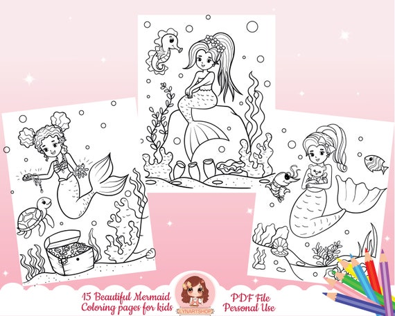 Mermaid coloring pages Summer theme coloring pages mermaids