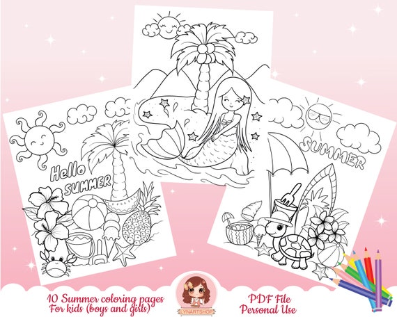 Summer coloring pages Coloring pages for kids Activity book