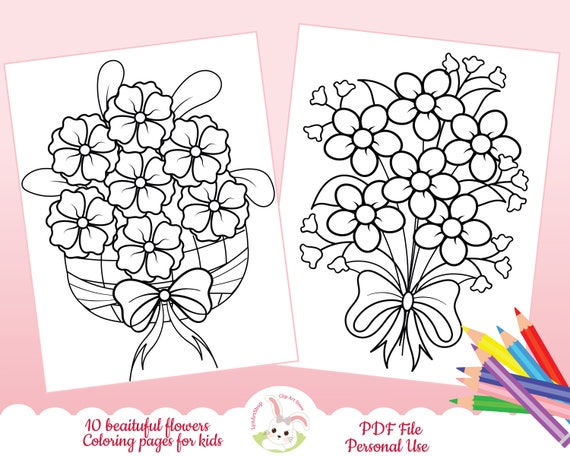 Flowers coloring pages for kids Floral coloring pages simple