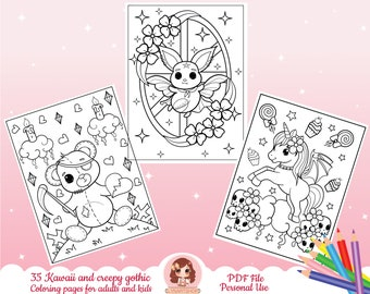 Goth coloring pages, kawaii coloring pages, adult coloring pages, witchy coloring pages, pastel goth coloring pages, creepy gothic coloring