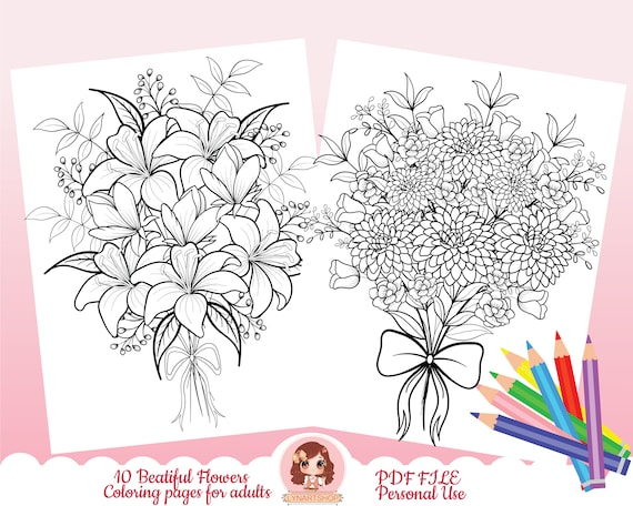 Flowers coloring pages Botanical coloring pages Printable
