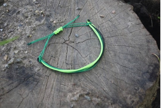 Forest Green And Ivory Handmade Wire Bracelet