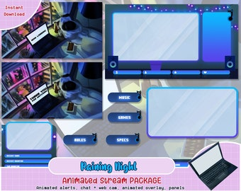 Alerts Twitch Overlays and Animated Scenes Panels Midnight Dreams Stream Graphics Kit by Livilune