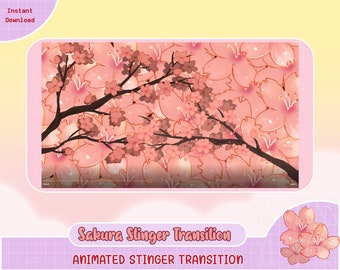 animated sakura blossom twitch transition scene, animate stinger, stinger transition, obs, vtuber, streamer video, premade transition