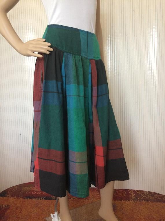 Vintage Skirt Cotton Tartan Green René Derhy