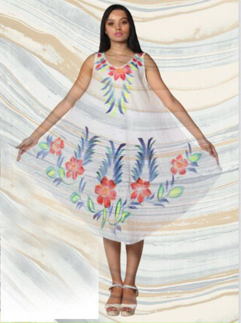 single size 4 different colors MIDI COTTON DRESS white printed summer clothing flower party dress sleeveless mini casual dress