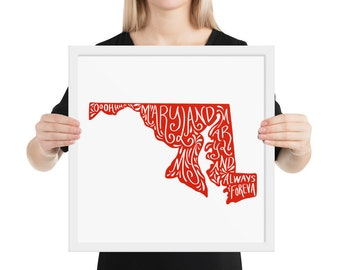 Framed Print Maryland State Handlettering Wall Art / Maryland State Pride Gift Present