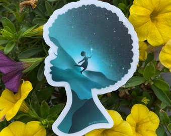 Black Girl Magic Art Clear Vinyl Sticker / Black Lives Matter / Black Pride Love / 25% proceeds donated to black nonprofit in Baltimore