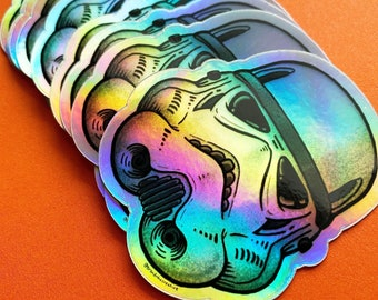 Holographic Imperial Stormtrooper Helmet Star Wars Sticker / High Quality Vinyl Waterproof art for macbook laptop, Hydroflask, iphone