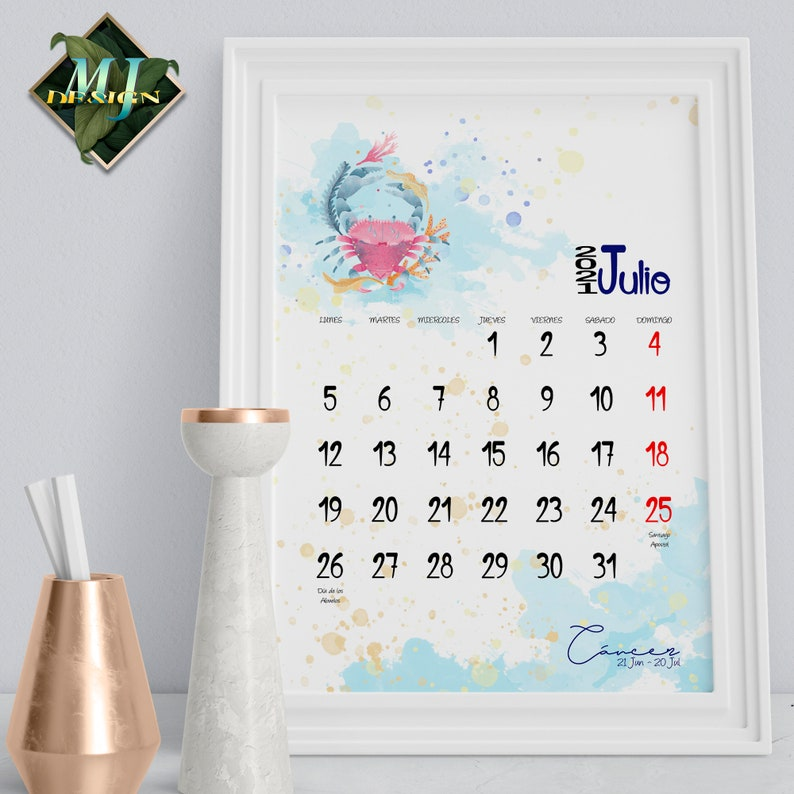 Spanish Calendar Zodiac 2021 Wall Calendar with Holidays ...