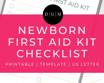 Newborn First Aid Kit Template Printable | Pregnancy Printables | Baby Printables