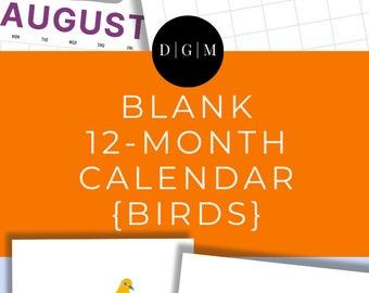 Blank Printable Calendar | 12 Months | Colorful Birds